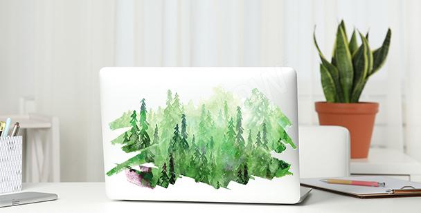 Zielona naklejka z akwarelą