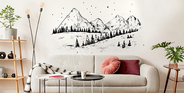 Zimowa naklejka z górami