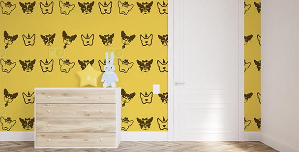 Żółta tapeta z psami