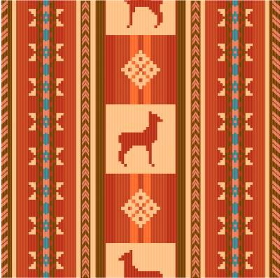 Fototapeta Ozdobny wzór etnicznych tkanin z lamami